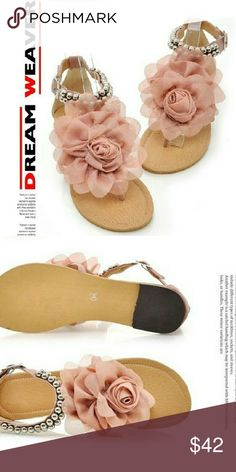Beautiful floral sandals Dusty Rose floral sandals with a beautiful silver pearl embellished strap Shoes Sandals