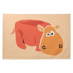 Funny Primitive Art Hippo Kitchen Towel