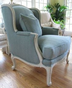 Chair redo in old ochre - beautiful with the blue upholstery.