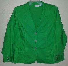 Denim & Co Green Blazer Jacket Plus Sz Women 2x 18/20 Fitted Jean Stretch #dco #Blazer