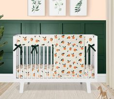 Baby Girl Crib Bedding, Orange Blossoms Baby Bedding Set, Clementine Nursery Theme, Crib Sheet, Rail Guard, Blanket