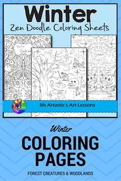 """The snow is coming! Winter is here! These are 10 zentangle doodle coloring pages to celebrate Winter in your classroom. These zen coloring sheets are very detailed and are all hand drawn by Ms Artastic.   These are great for time savers, to use as an """"early finisher"""" activity, or WINTER activity. Keep your fast finishers busy, peaceful and at their desks! Great for an art center as well!"""