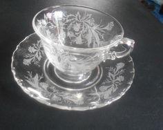 Vintage Etched Flower Tea Cup & Saucer by VintageVarietyFinds