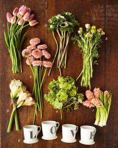 1. pink tulips // 2. ivory anemones // 3. peach ranunculus // 4. peach or pink calendula // 5. 203 stems pink or ivory amaryllis // 6. geranium leaves // 7. peach hyacinth // 8. letter mugs from anthropologie tulipina valentine's day arragement for coco+kelley