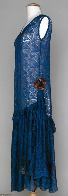 Beaded blue lace dress ~ 1920's