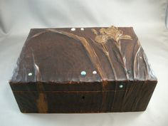 Turn of the Century (last one!) Carved Wooden Box with Iris