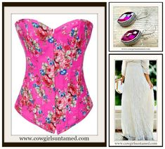 CORSET - Hot Pink Denim Floral Lace Up Western Corset Bustier Top and FREE Thong Floral Denim, Denim And Lace, Floral Lace, Floral Fashion, Love Fashion, Fashion Ideas, Fashion Outfits, Cowgirl Style Outfits, Cowgirl Fashion