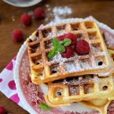 Yogurt Waffles. 2 eggs 1 cup flour 1.5 teaspoons baking powder 1/2 cup milk 1/2 cup plain yogurt melted butter to grease waffle iron. Blend all ingredients thoroughly. Pour the right amount of dough on the hot plate waffle maker . Close the lid and cook for about 5 minutes
