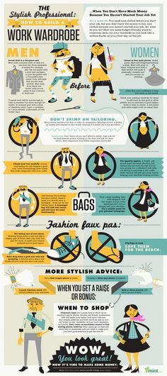 The Stylish Professional: How to Build a Work Wardrobe - Infographic - dress, men, women