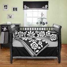 Black & white flower crib bedding set