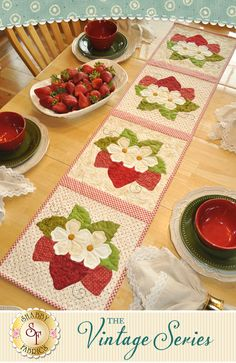 The Vintage Series - June Table Runner Kit: Decorate your home all year long with a beautiful table runner from The Vintage Series by Jennifer Bosworth of Shabby Fabrics. This applique kit is for the June design. Table runner measures approximately 12½