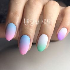 Pastel colours ombre nail art - The Best 12 Ombre Nail Art – French fades, unicorn and more
