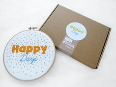 Hand Embroidery Kit Happy Needlework Kit Motivational Phrase Hoop Art Tutorial Craft Kit For Adults Gift For Crafter Stocking Filler by OhSewBootiful #embroidery #etsy #etsyuk #gifts #giftsforher #homedecor #hoopart #fiberart #handembroidery #handmade #ohsewbootiful