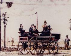 Der erste O-Bus » Elektromote « von Siemens auf dem Berliner Kurfürstendamm (1882). #vmdup Reproduktion: Verkehrsmuseum Dresden