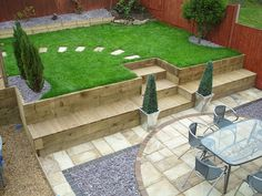 RECLAIMED SLEEPERS used as retaining wall and seating