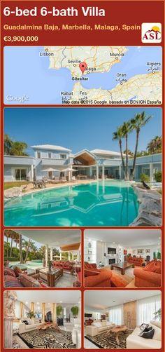 Villa for Sale in Guadalmina Baja, Marbella, Malaga, Spain with 6 bedrooms, 6 bathrooms - A Spanish Life Marbella Malaga, Waterfall Features, Malaga Spain, Spacious Living Room, Sitting Area, Seville, Terrace, Swimming Pools, Bath