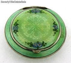 Antique Gilt Silvered Guilloche Green Enamel Floral Powder Box | eBay