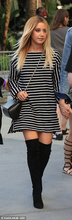 Earning her stripes! The former High School Musical star - who turned 31 on Saturday - looked sensational in a black and white minidress
