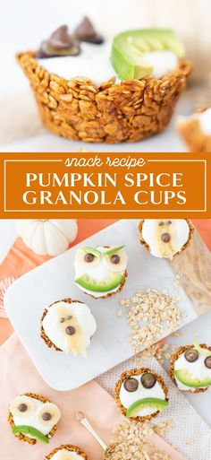 Granola cups make a healthy and fun snack! This pumpkin spice recipe is perfect for fall, topped with maple yogurt and extra treats. Click for the recipe! The granola cups would be great for kids parties, snack time, fall treats, and more.