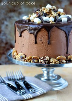 Rocky Road Cake -- Chocolate Cake, Buttercream and Ganache with Almonds, Chocolate Chips and Marshmallows