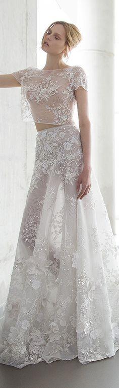 d29a597e82e8f mira zwilinger 2016 stardust bridal lola beaded floral embellished crop top  and hand made floral embellished. Gonna ImpreziositaAbiti Da SposaAbiti ...
