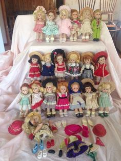 Large Lot Vogue Ginny Dolls. 7 1/2-8 inches. Must see. 1950-56. Plus extras. #Dolls