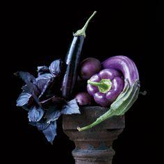 Simply Raw Calendar - Photography Lynn Karlin - Recipes Matthew Kenney -  Basil, egg plant, purple peppers