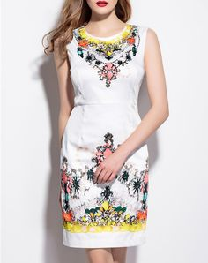 #AdoreWe #VIPme Sheath Dresses - YZXH Border Printed Sleeveless  Elegant Mini Dress - AdoreWe.com