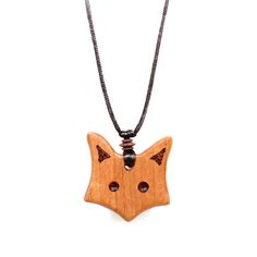 Fox teething necklace pendant made from UK Applewood and simply treated with Olive oil. Pendant size 45 - 50mm