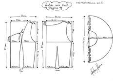 Molde do Vestido de Saia Godê tamanho 44.