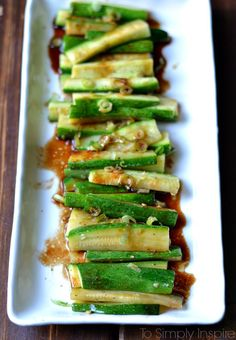 Spicy Asian Zucchini by tosimplyinspire #Zucchini #Asian #Healthy #Quick