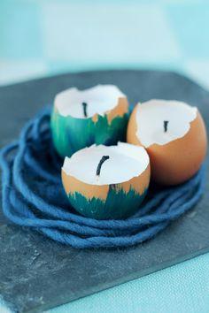 Kerzen in Eierschalen Oster DIY