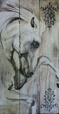 Equine Art horse painted on pallet wood Artist Debra Faul