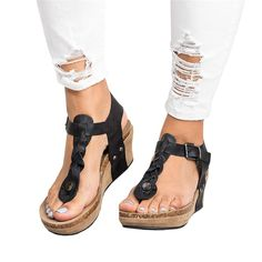 7ab49d52b9a7 Chellysun Women s Boho Braided Wedge T-Strap Sandals boho summer  comfortable strappy Gladiator leather resort sandals shoes
