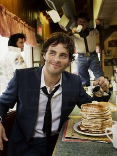 James Marsden - He's so underrated. Come on guys, he CAN sing! Oooh pancakes. +1 for this pic.