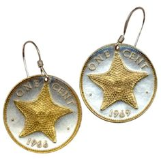 Gorgeous Gold on Silver Bahamas Starfish Coin Earrings Copper Penny, World Coins, Coin Jewelry, Starfish, Drop Earrings, Sterling Silver, Anchor, Nautical, Gold