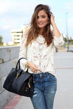 jeans & brocade top
