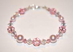 Swarovski Pink Roseline Crystal and Pearl Bracelet. by BitsyBead, $35.00