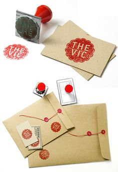 Self promotion idea.  Another great example of using a rubber stamp to tie in your collateral material.