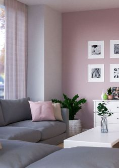 Pink Accent Walls, Pink Bedroom Walls, Pink And Grey Room, Living Room Ideas Pink And Grey, Ideas For Living Room, Pink Room, Mauve Living Room, Living Room Decor, Colourful Living Room