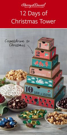 Count Down The 12 Days To Christmas With This Tower Full Of Holiday Treats Each Box Is A Sweet Surprise Including Moose Munch Gourmet Popcorn, Velvety Chocolate-Covered Cherries, Chocolate Malt Balls And More. Holiday Treats, Holiday Gifts, Christmas Gifts, Days To Christmas, Christmas Countdown, Moose Munch, Chocolate Malt, Chocolate Covered Cherries, Gourmet Popcorn