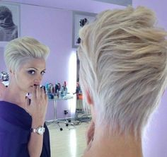 Most Popular Hairstyles for Summer: Blonde Long Pixie Haircut