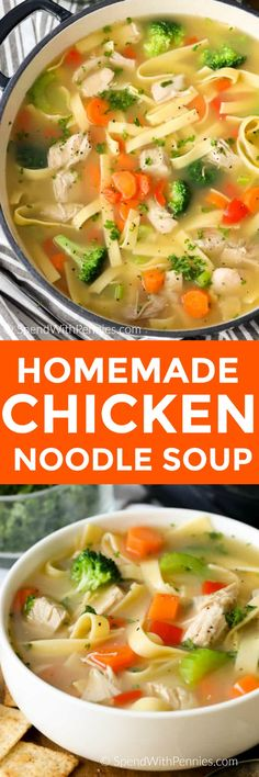 Homemade Chicken Noodle soup takes about 20 minutes to make! This hearty soup has juicy chicken, tender egg noodles and fresh vegetables all simmered in a flavorful chicken broth. #spendwithpennies #chickennoodlesoup #easyrecipe