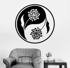 Yin Yang Wall Stickers Decal Floral Vinyl Removable Art Black