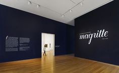 Title wall of Magritte: The Mystery of the Ordinary, at The Museum of Modern Art. Lettering by Sabine Dowek Museum Exhibition Design, Exhibition Space, Design Museum, Magritte, Museum Identity, Vitrine Design, Wall Text, Signage Display, Museum Displays