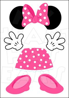 Pink minnie mouse bow cut outs from printabletreats minnie minnie mouse pink body parts for state room disney cruise door instant download digital clip art pronofoot35fo Image collections