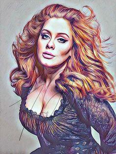 Adele Drawing PRINT Sketch Portrait Wall Art Illustration