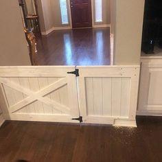 Rustic Barn Door Style Baby/ Pet gate w/special Fairy Door or Cat Door New Homes, Rustic Barn, Double Doors, Rustic Barn Door, House, Home, Barn Door Baby Gate, Panel Siding, Dutch Door
