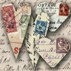 Make hearts of old postcards