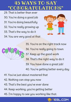 Congratulations Synonym: 45 Ways To Say Congratulations - 7 E S L English Writing Skills, Learn English Grammar, Learn English Words, English Language Learning, English Study, English Lessons, Teaching English, Teach English To Kids, English Tips